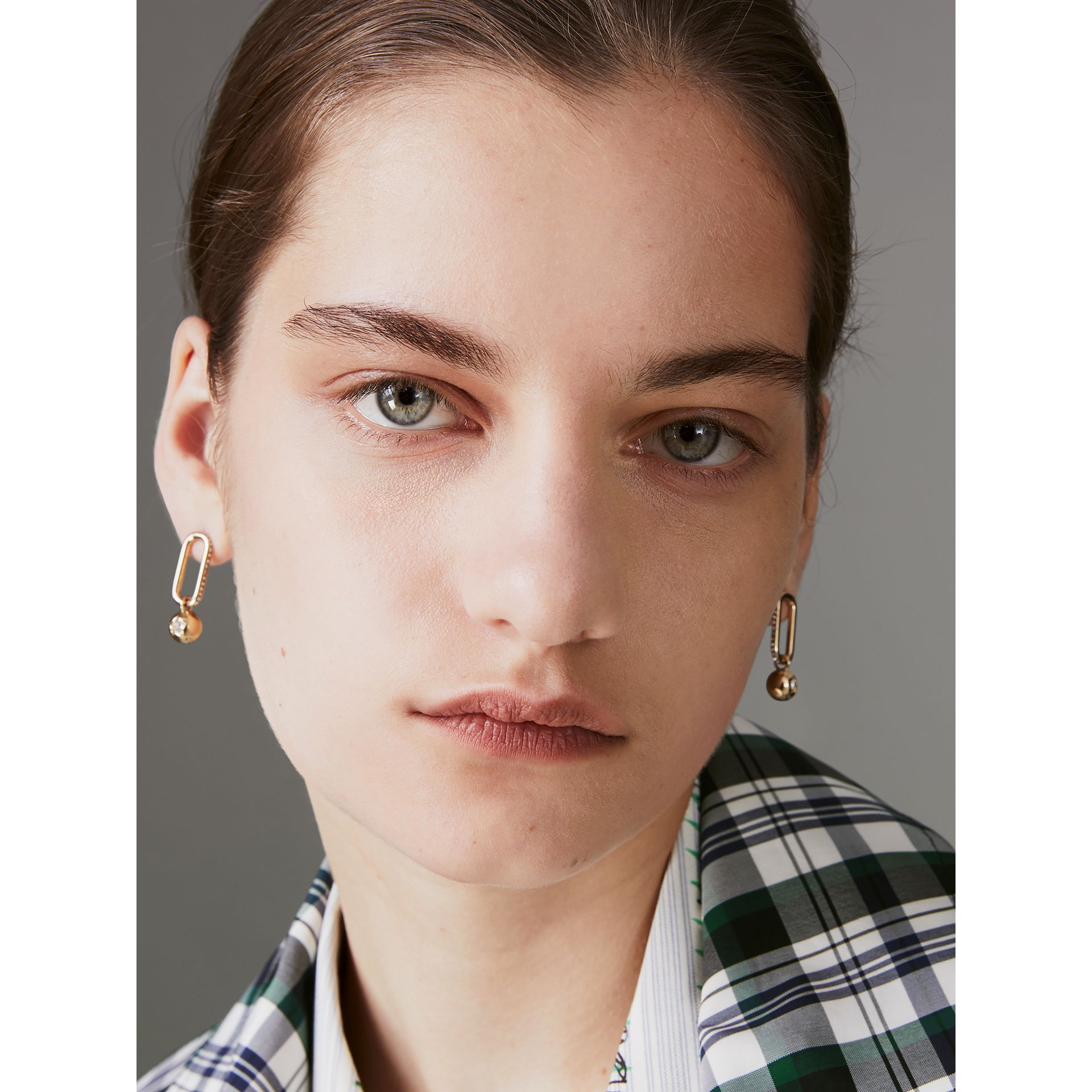 Crystal Charm Gold-plated Drop Earrings in Light Gold/crystal - Women | Burberry United Kingdom - gallery image 4