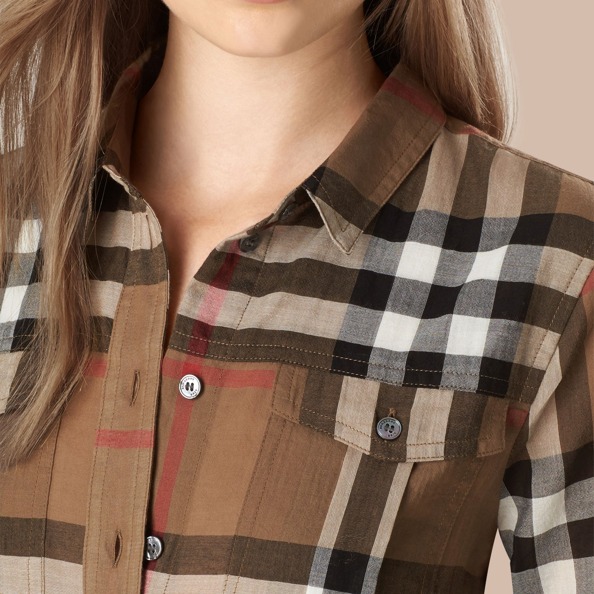Taupe brown Check Cotton Shirt - gallery image 2