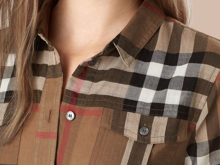 Taupe brown Check Cotton Shirt - cell image 1