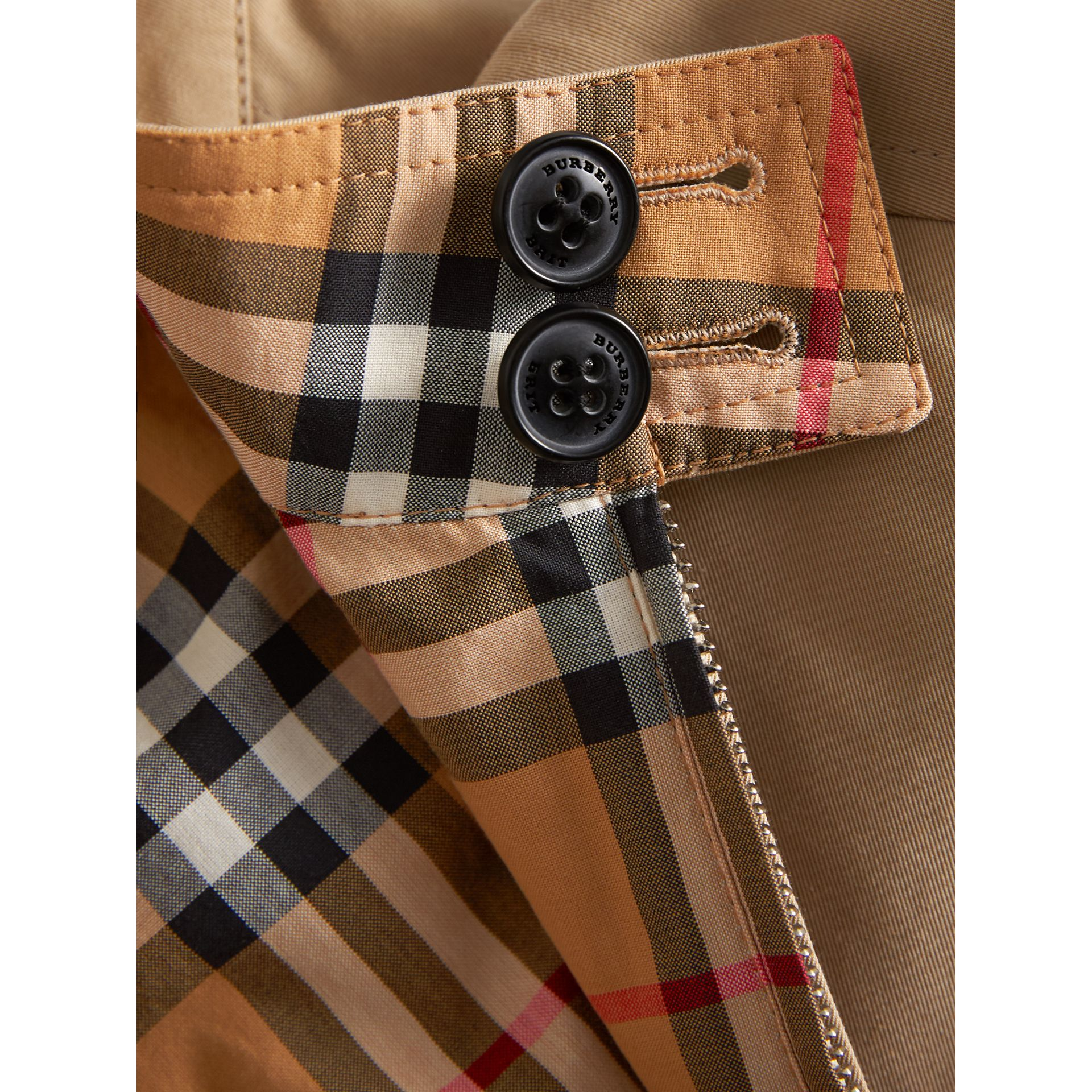 Reversible Gabardine and Vintage Check Harrington Jacket in Antique Yellow | Burberry United Kingdom - gallery image 1