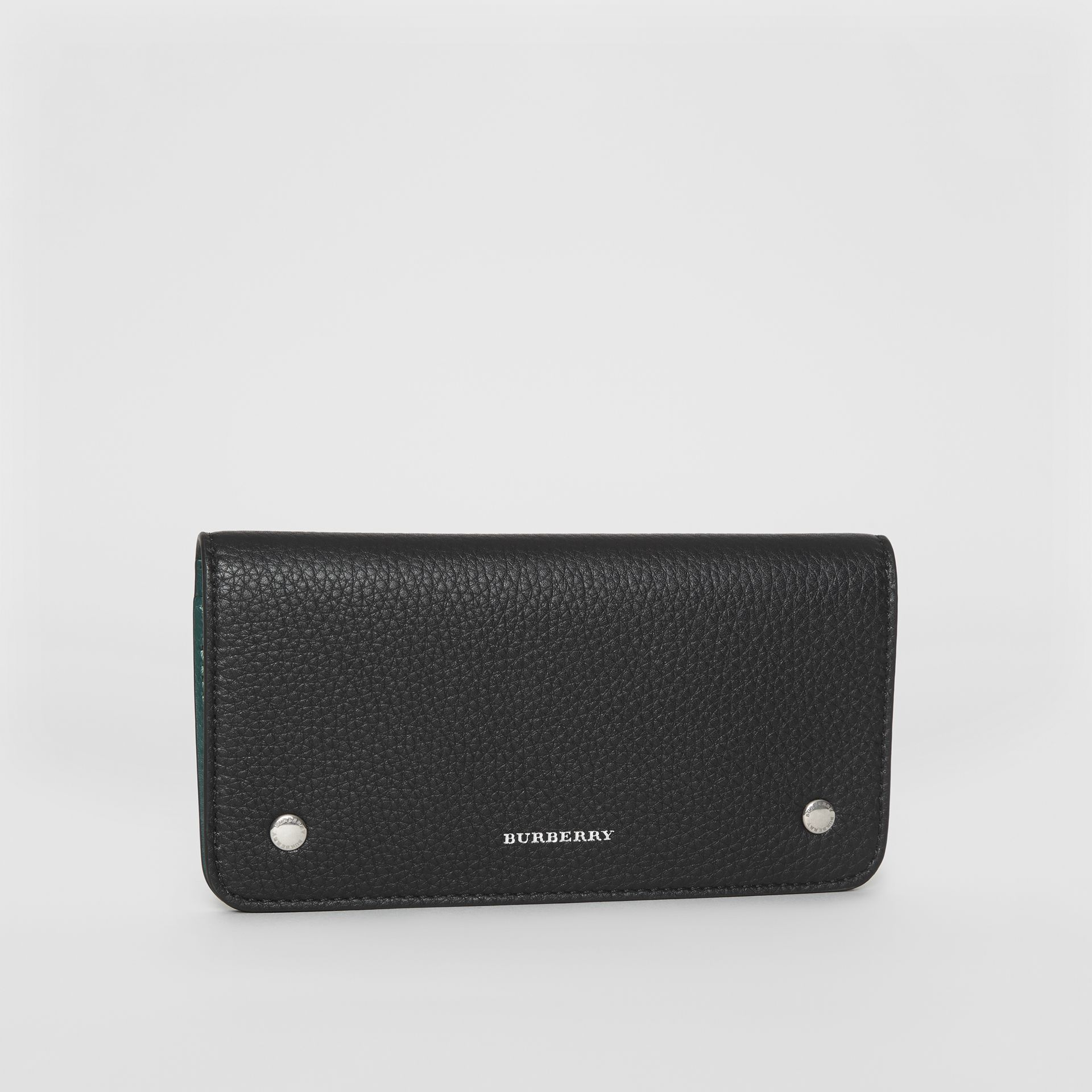 Leather Phone Wallet in Black - Women | Burberry - gallery image 4