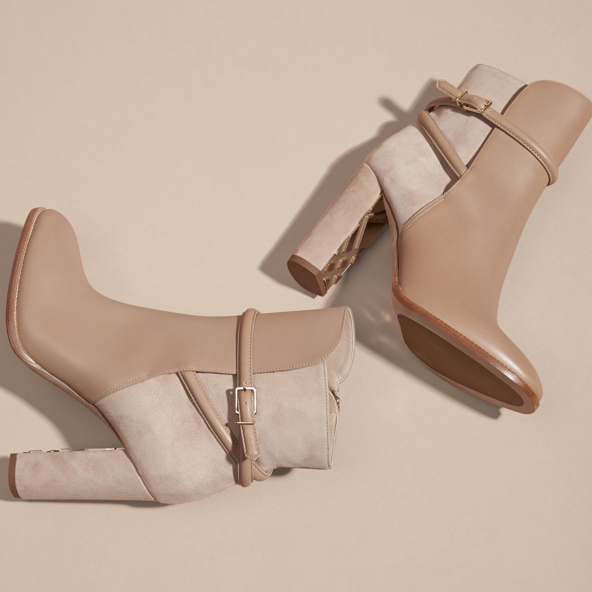 Light nude Strap Detail Leather and Suede Ankle Boots Light Nude - gallery image 5