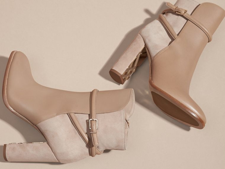 Light nude Strap Detail Leather and Suede Ankle Boots Light Nude - cell image 4