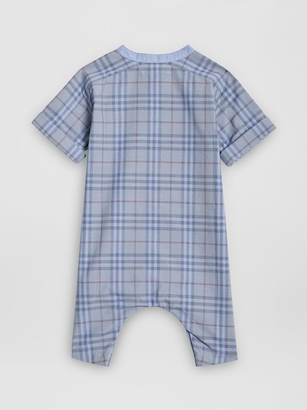Bib Detail Check Cotton Jumpsuit in Dusty Blue - Children | Burberry Canada - cell image 3