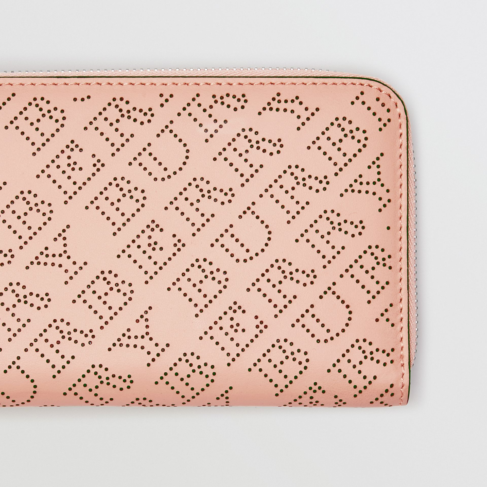 Perforated Leather Ziparound Wallet in Pale Fawn Pink - Women | Burberry - gallery image 1