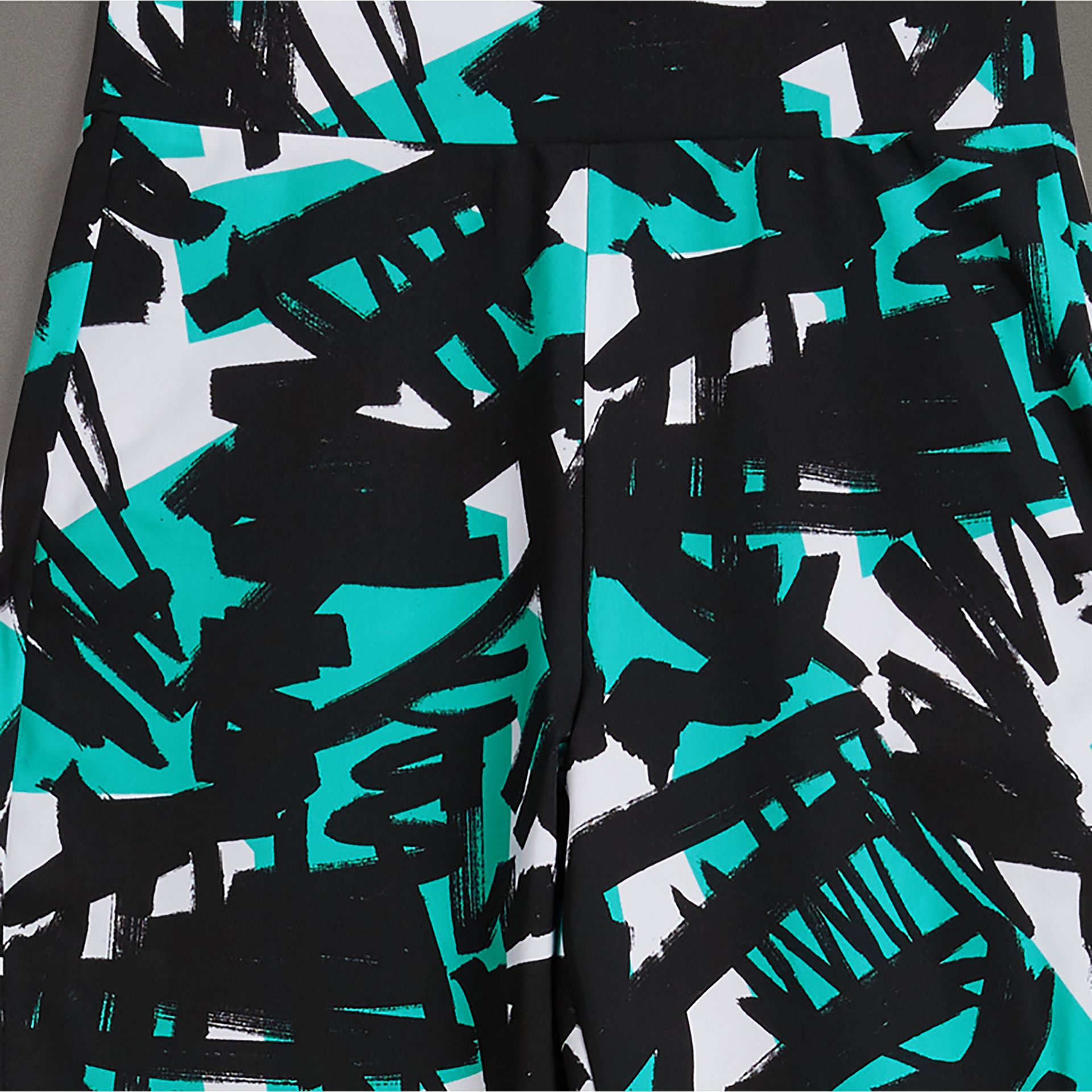 Graffiti Print Leggings in Turquoise - Women | Burberry - gallery image 1