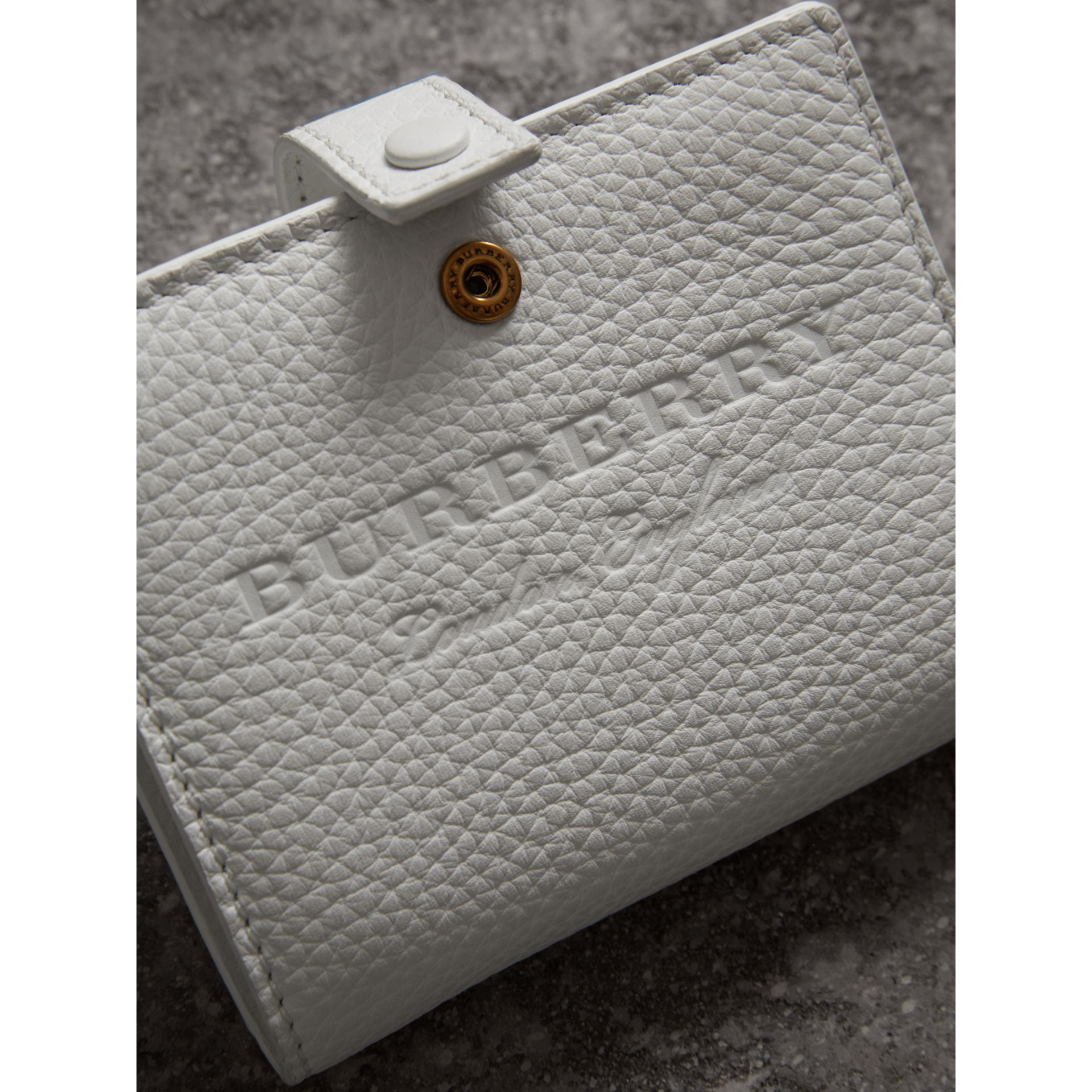 Embossed Leather Folding Wallet in Chalk White - Women | Burberry - gallery image 1