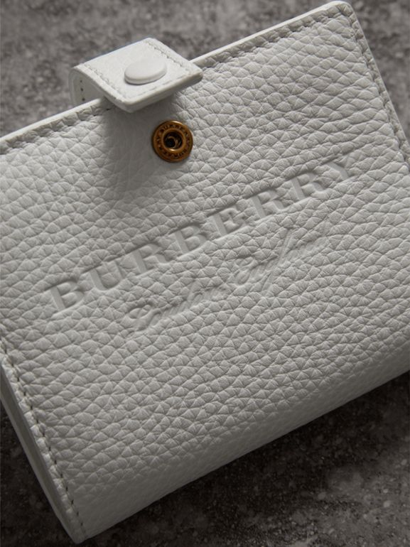 Embossed Leather Folding Wallet in Chalk White - Women | Burberry United Kingdom - cell image 1