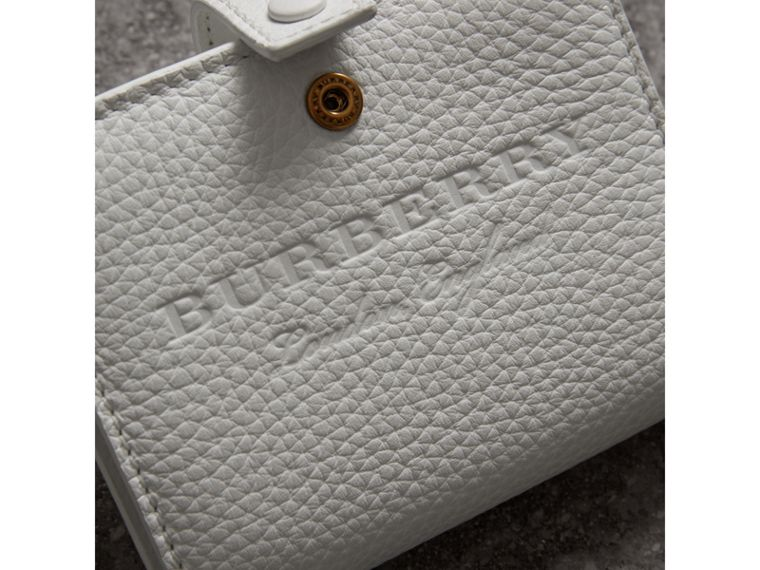 Embossed Leather Folding Wallet in Chalk White - Women | Burberry - cell image 1