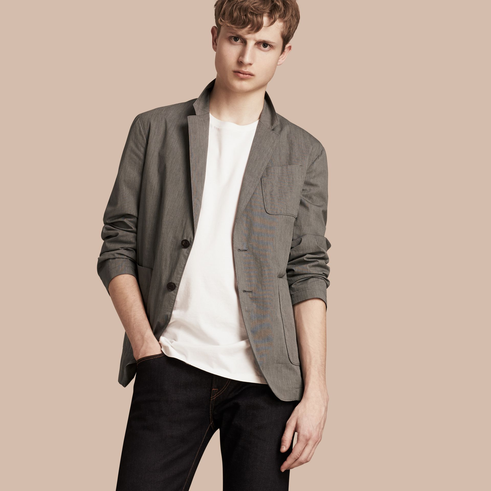Dark grey Cotton Tailored Jacket - gallery image 1