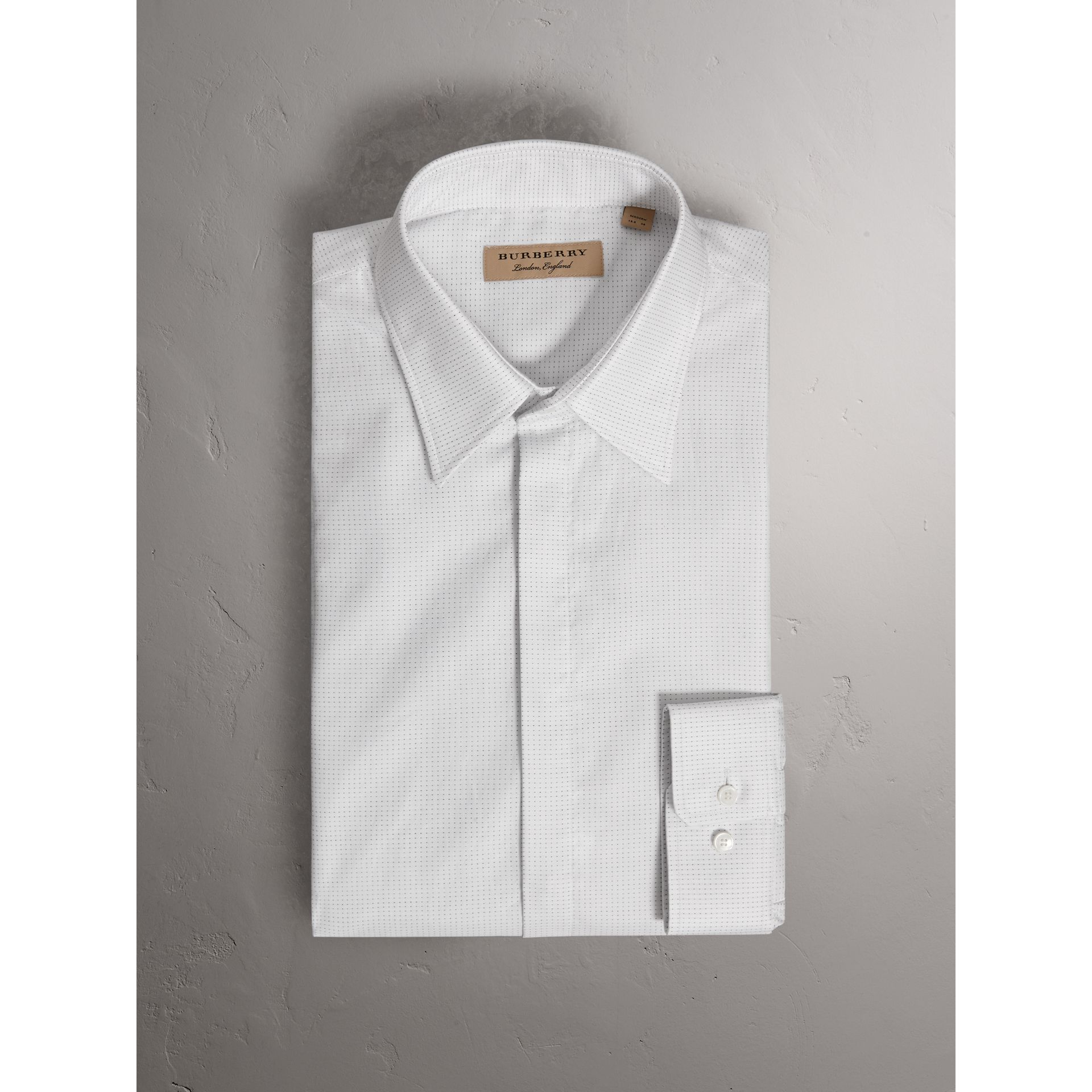 Modern Fit Pin Dot Dobby Cotton Shirt in White - Men | Burberry - gallery image 3