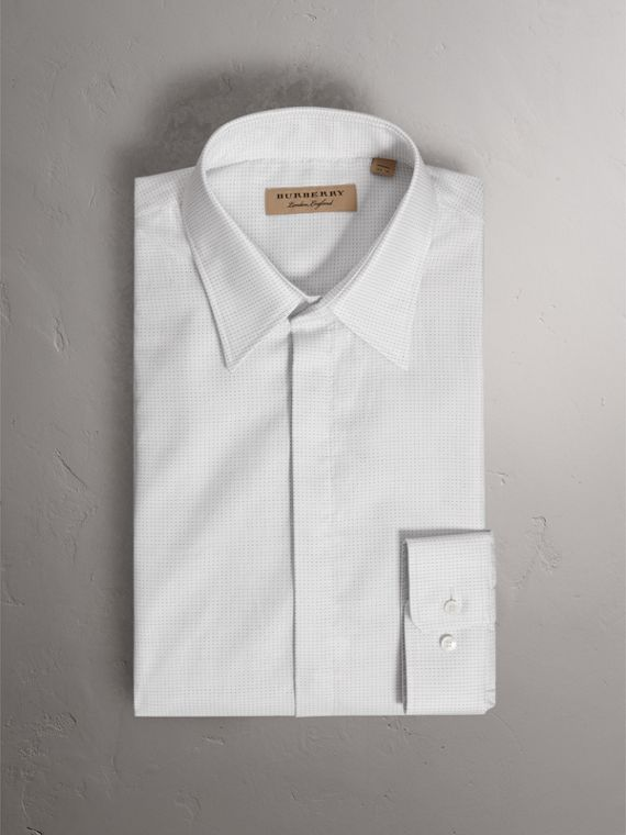 Modern Fit Pin Dot Dobby Cotton Shirt in White - Men | Burberry - cell image 3