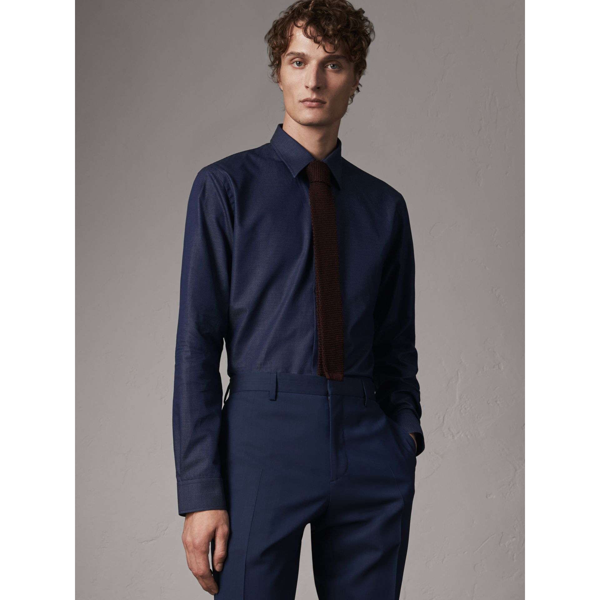 Modern Fit Pin Dot Dobby Cotton Shirt in Navy - Men | Burberry Australia - gallery image 1