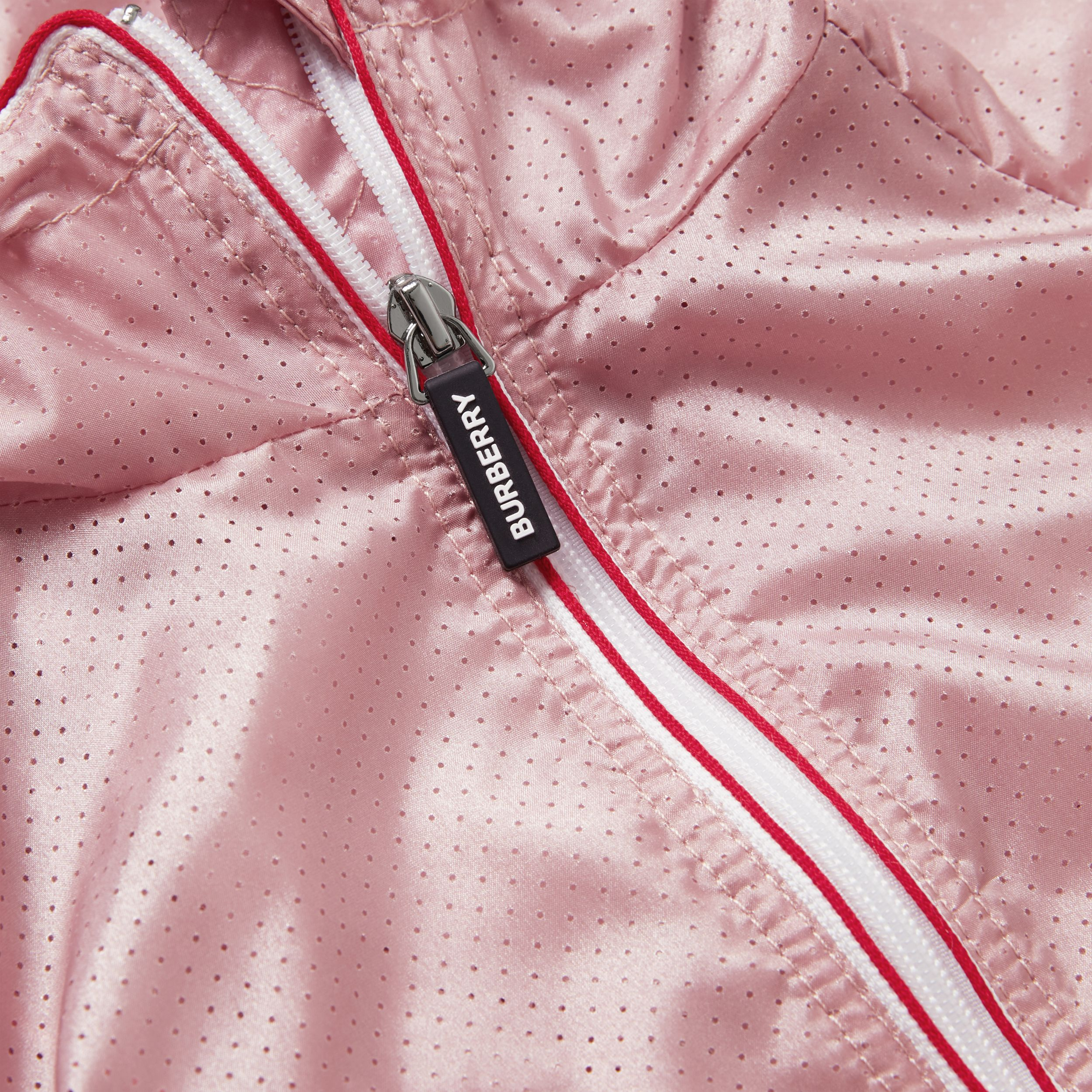 Logo Print Perforated Hooded Jacket in Pearl Rose | Burberry - 2