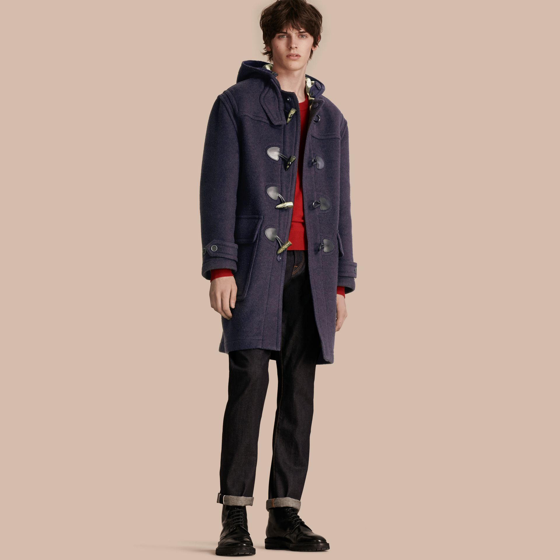 Navy Wool-Blend Duffle Coat Navy - gallery image 1