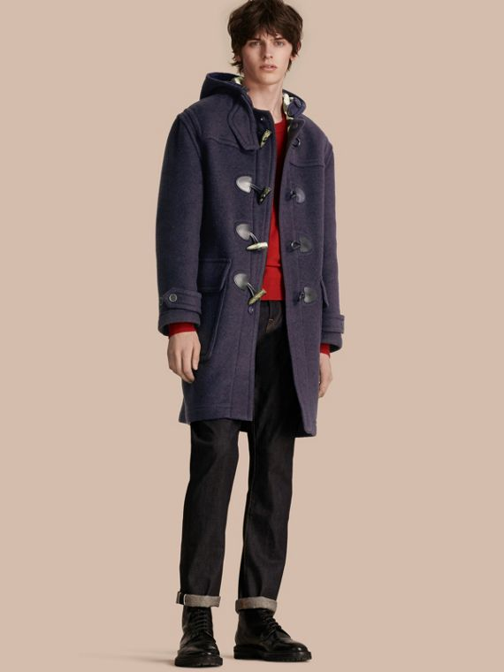Wool-Blend Duffle Coat Navy