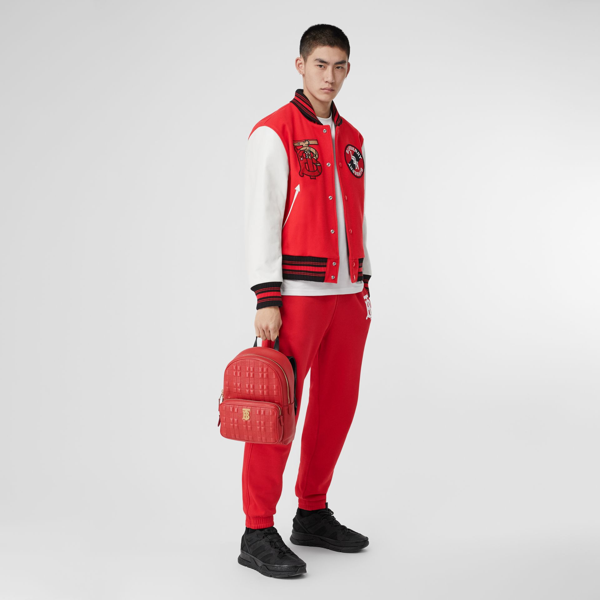 Quilted Lambskin Backpack in Bright Red | Burberry - gallery image 7