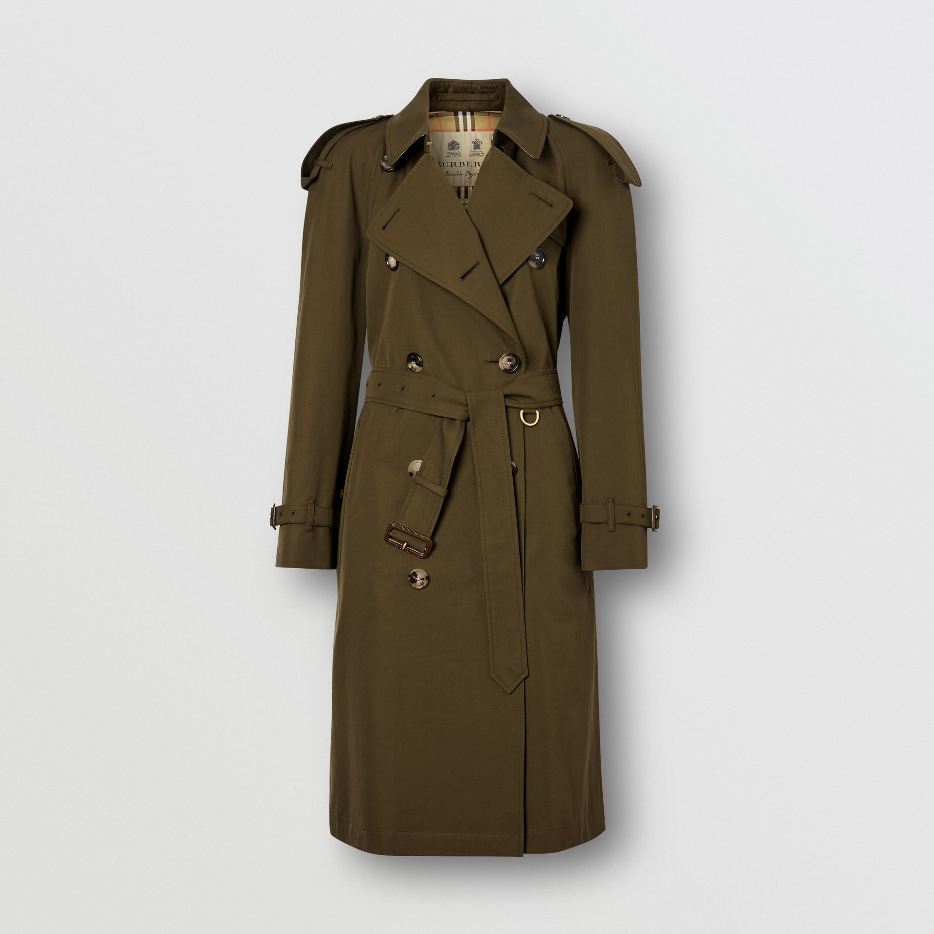 Tropical Gabardine Mid-length Trench Coat in Dark Military Khaki - Women | Burberry - gallery image 8