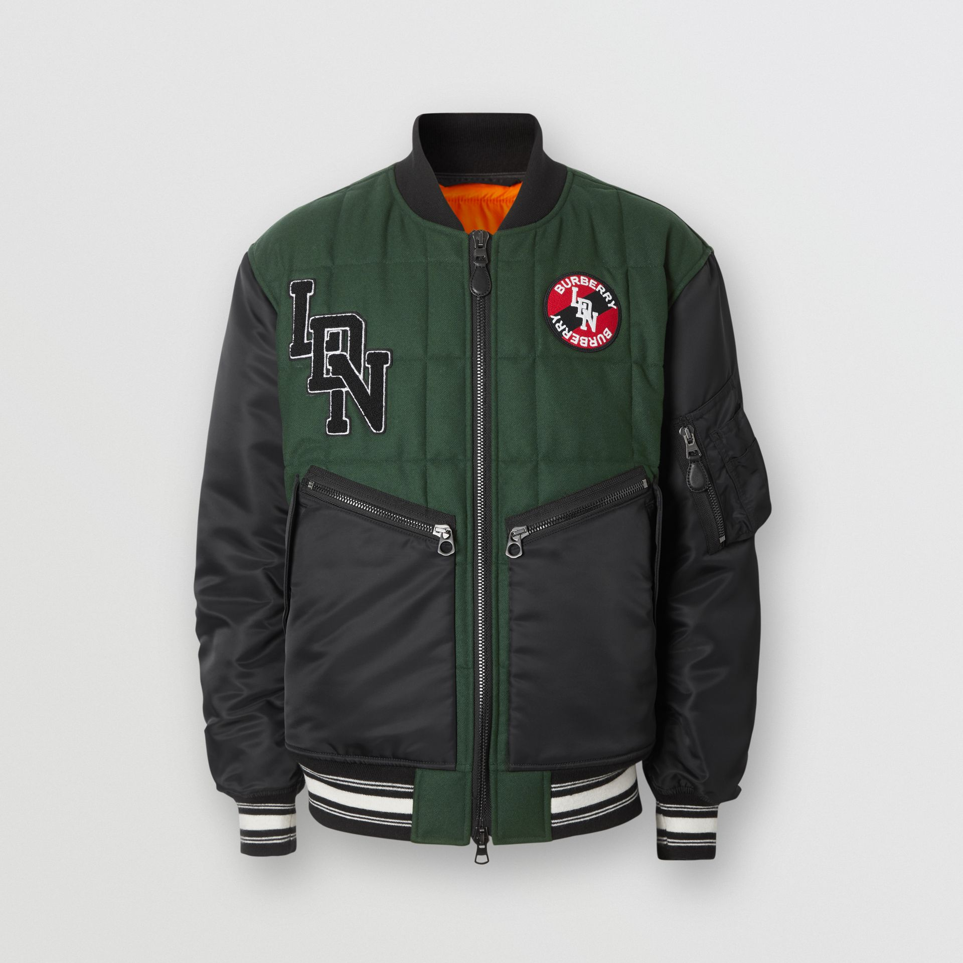 Contrast Sleeve Logo Graphic Wool Bomber Jacket in Dark Pine Green - Men | Burberry Hong Kong S.A.R - gallery image 3