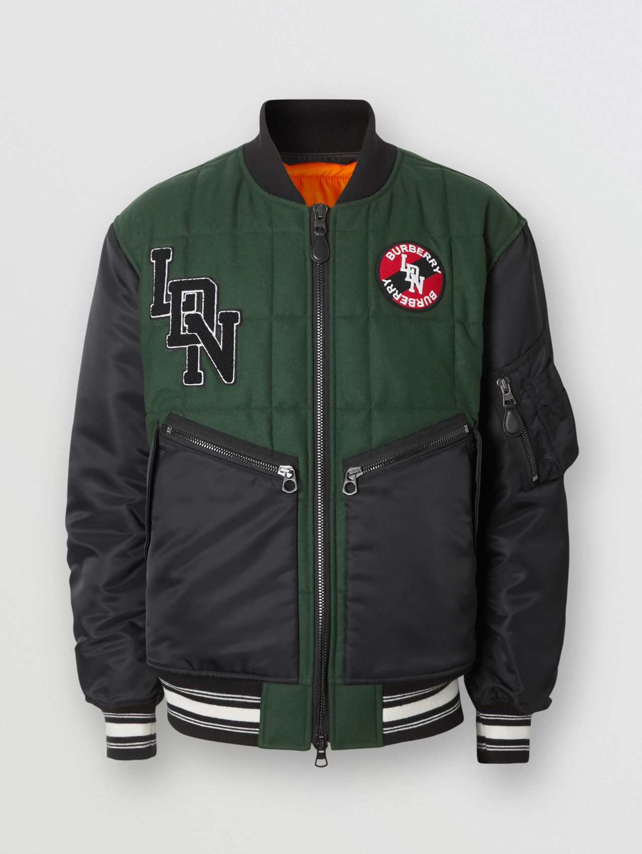 Contrast Sleeve Logo Graphic Wool Bomber Jacket in Dark Pine Green
