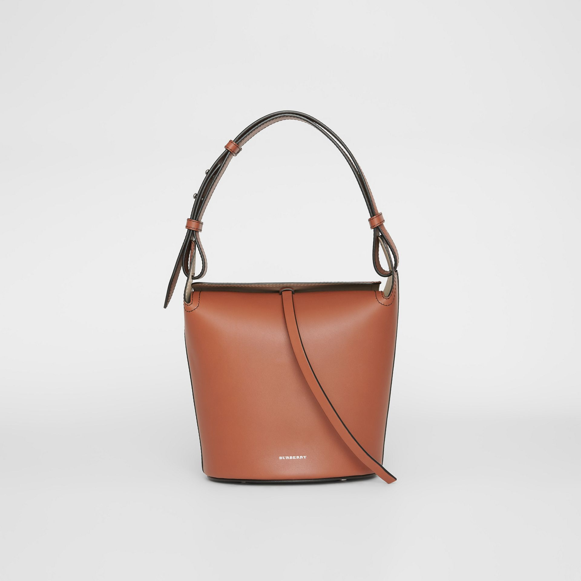 The Small Leather Bucket Bag in Taupe Brown - Women | Burberry - gallery image 0