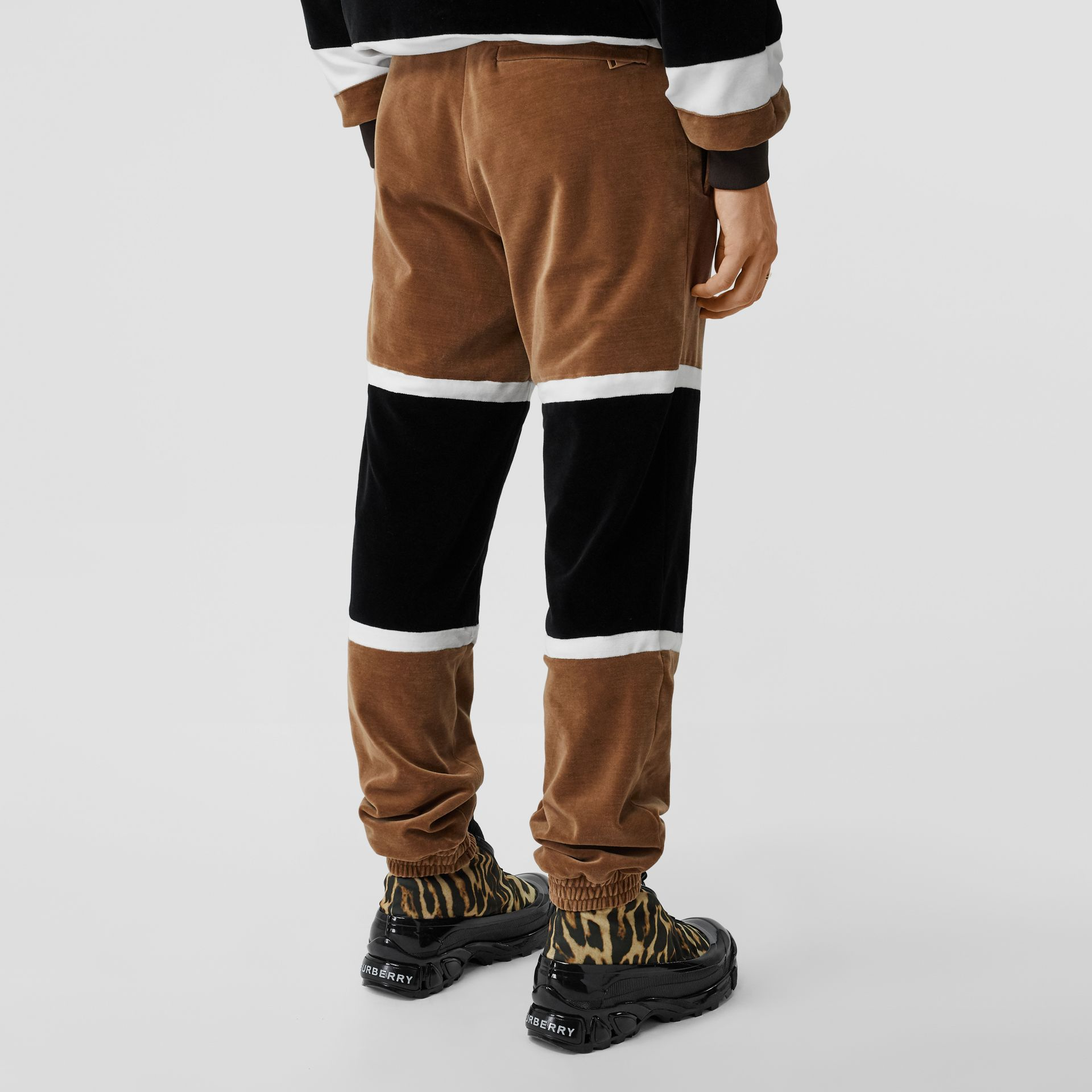 Logo Graphic Striped Chenille Trackpants in Dark Walnut - Men | Burberry - gallery image 2