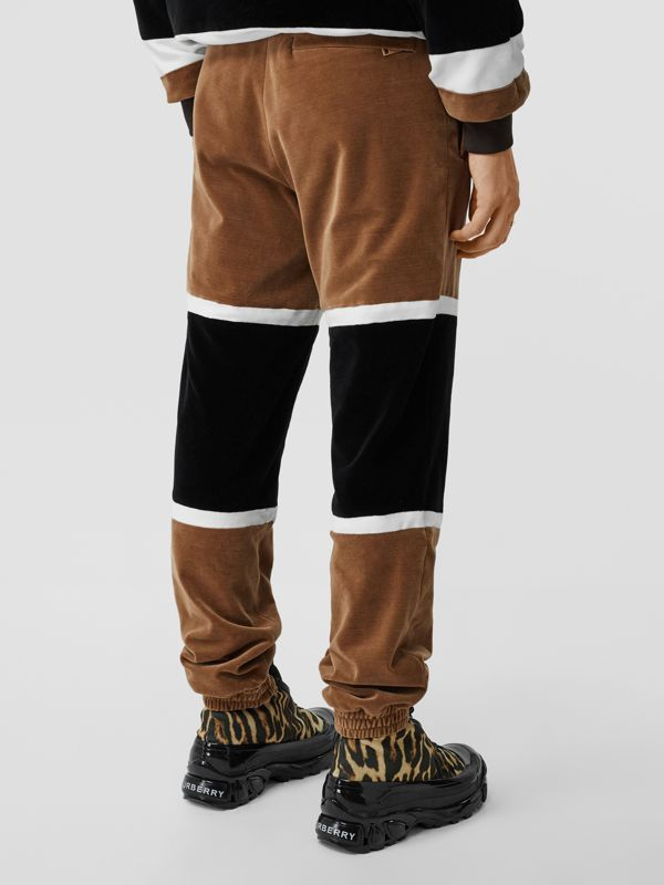 Logo Graphic Striped Chenille Trackpants in Dark Walnut - Men | Burberry - cell image 2