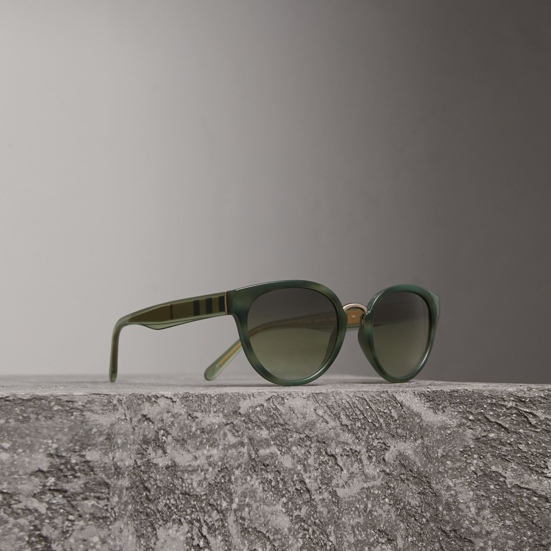 Check Detail Cat-eye Frame Sunglasses in Dark Olive - Women | Burberry - gallery image 0