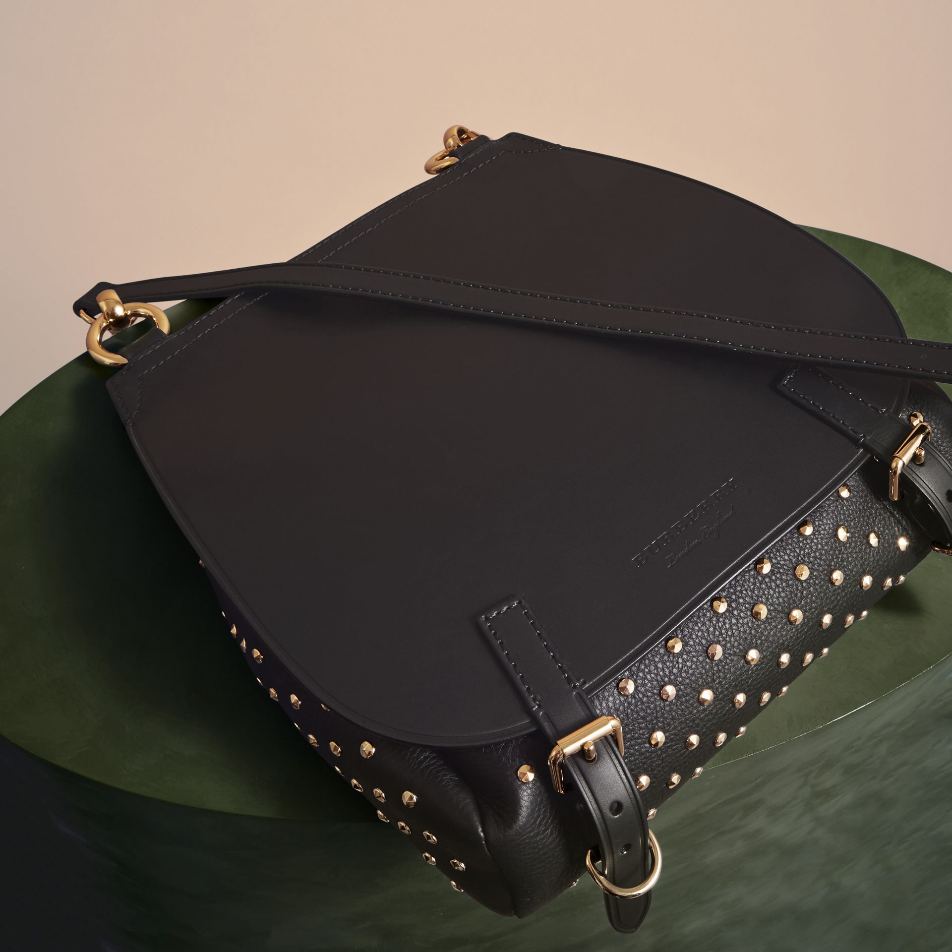 Black The Small Bridle Bag in Riveted Leather - gallery image 7
