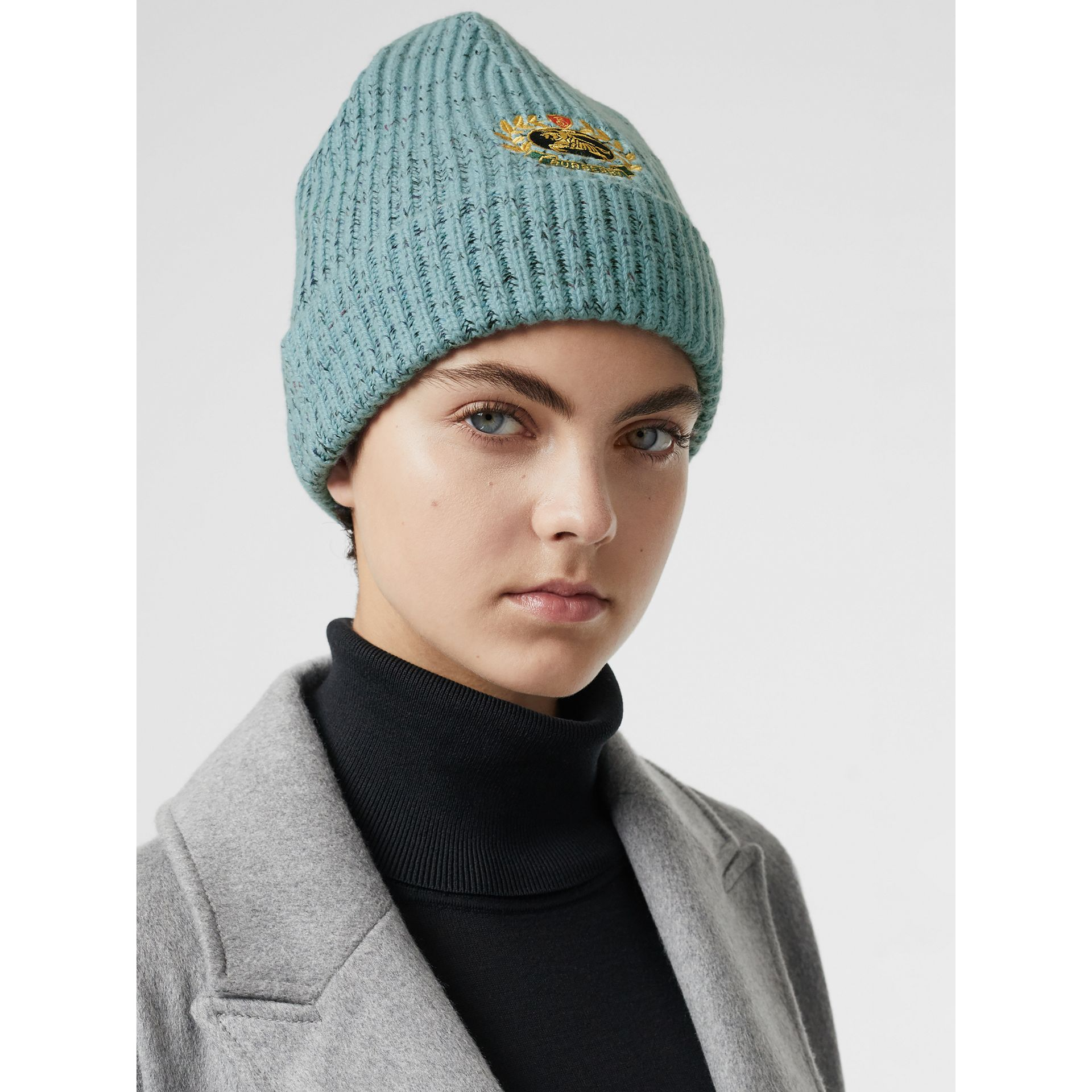 Embroidered Archive Logo Wool Blend Beanie in Blue Topaz | Burberry United Kingdom - gallery image 2