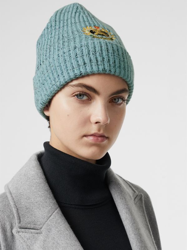 Embroidered Archive Logo Wool Blend Beanie in Blue Topaz | Burberry - cell image 2