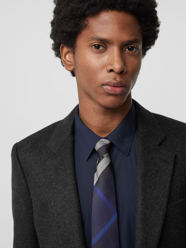 Modern Cut Check Silk Tie in Indigo Blue - Men | Burberry Singapore - cell image 2