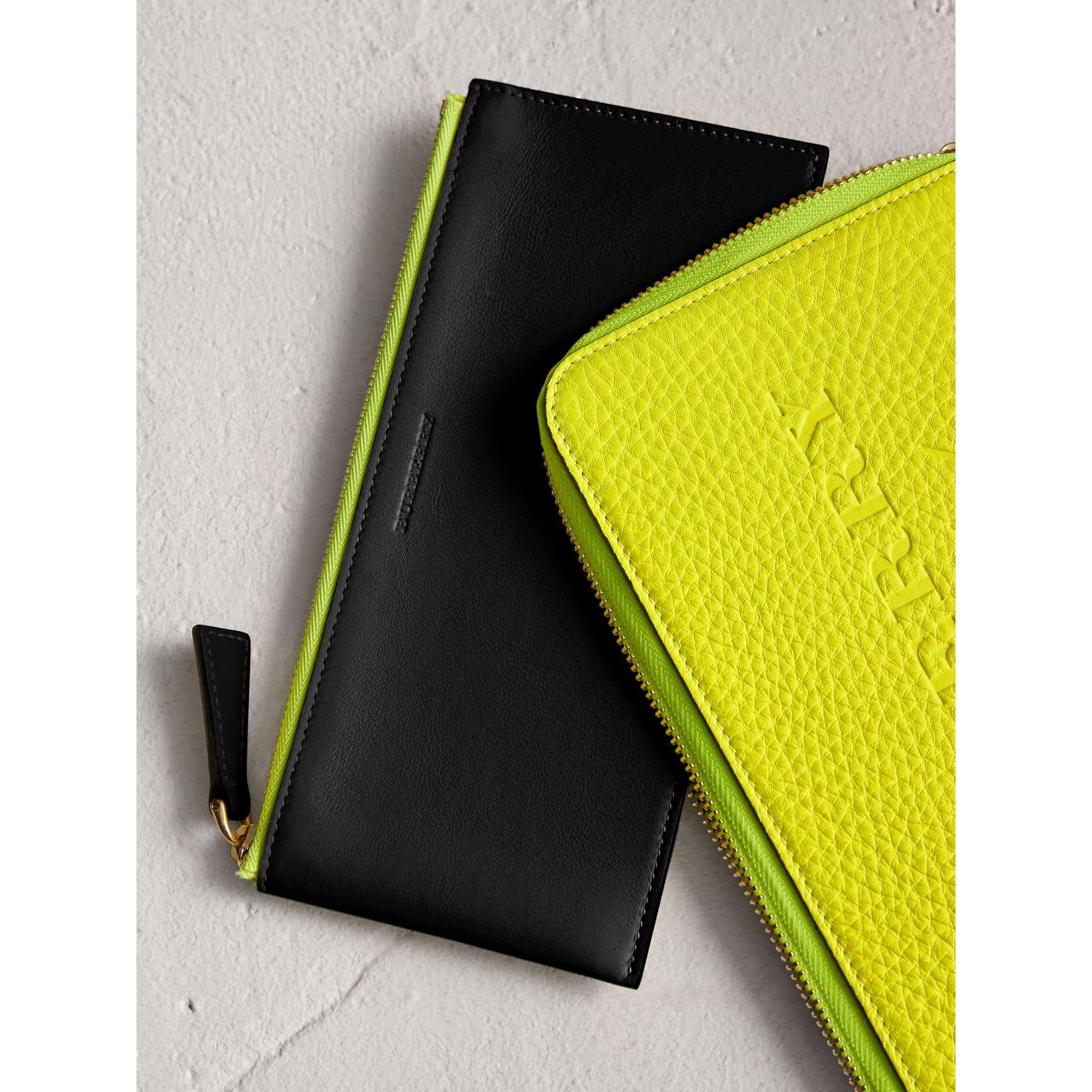 Burberry Embossed Leather Zip Around Wallet: Embossed Neon Leather Travel Wallet In Bright Yellow