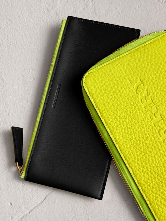 Embossed Neon Leather Travel Wallet in Bright Yellow | Burberry - cell image 1
