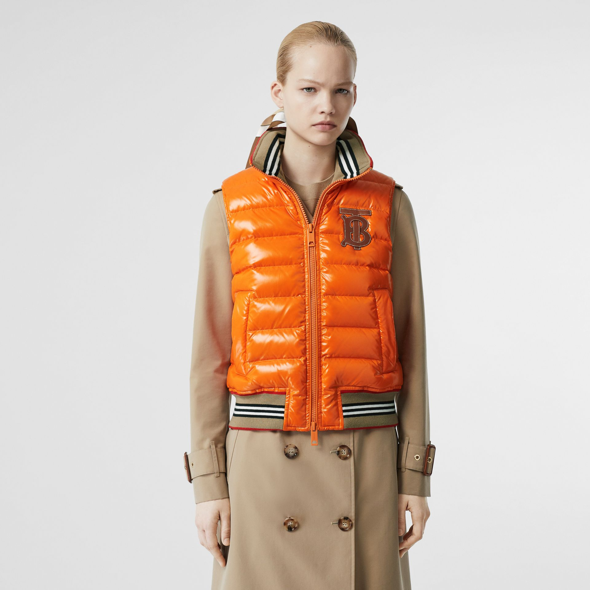 Icon Stripe Detail Down-filled Puffer Gilet in Orange - Women | Burberry - gallery image 6