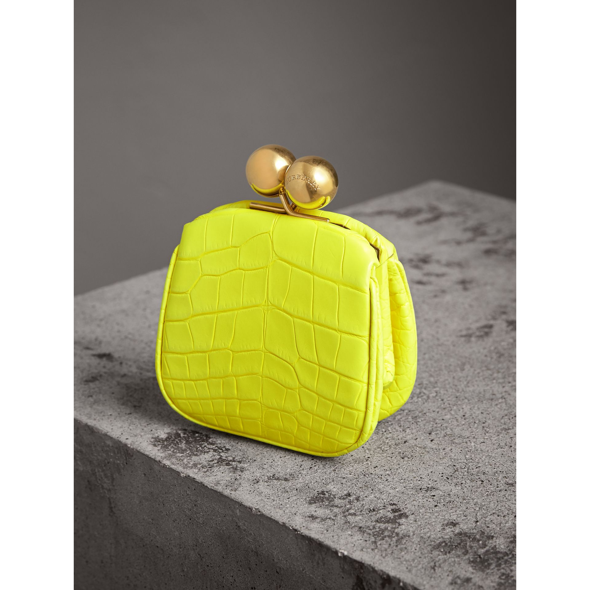 Mini Alligator Metal Frame Clutch Bag in Neon Yellow - Women | Burberry - gallery image 3