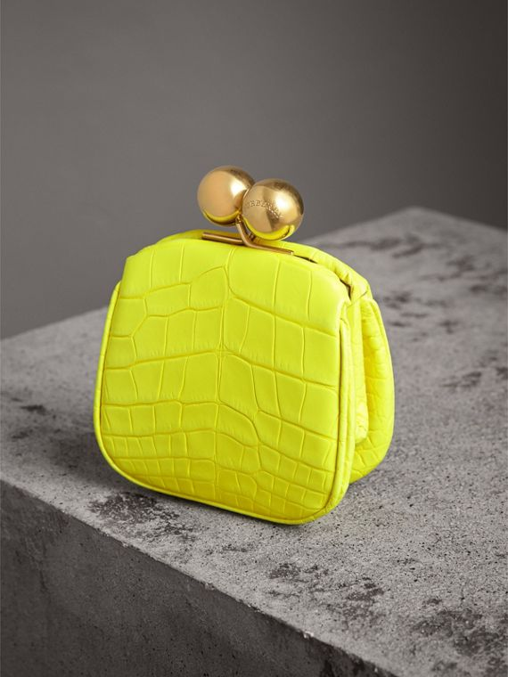 Mini Alligator Frame Bag in Neon Yellow - Women | Burberry United States - cell image 3