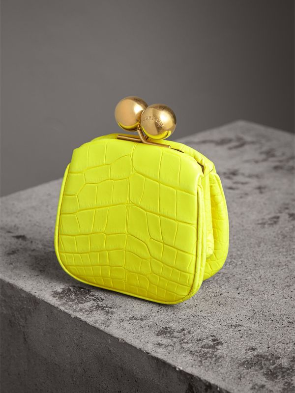Mini Alligator Frame Bag in Neon Yellow - Women | Burberry - cell image 3