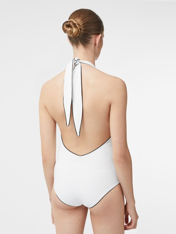 Piping Detail Halterneck Swimsuit in Off White - Women | Burberry United Kingdom - cell image 2