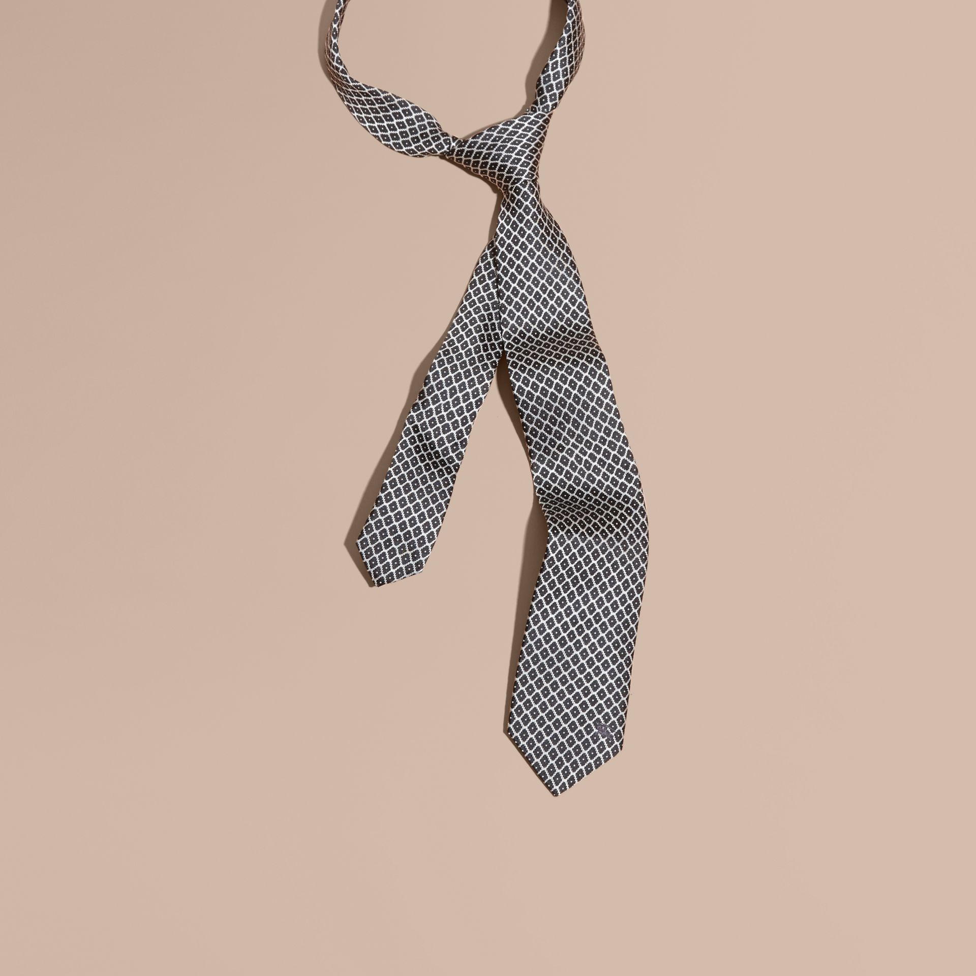Black Modern Cut Silk Jacquard Tie Black - gallery image 1