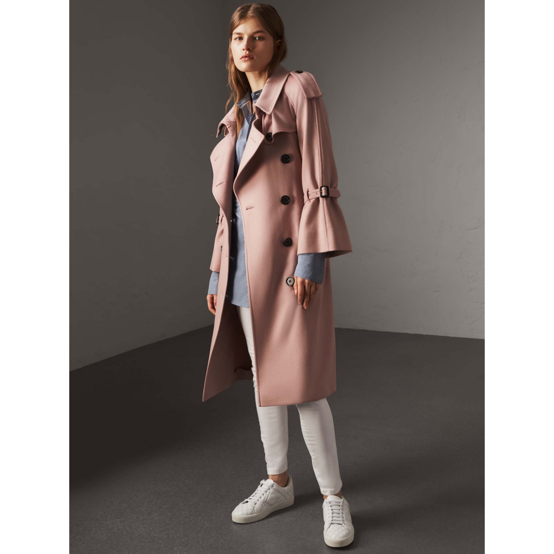 Ruffled Storm Shield Cashmere Trench Coat in Chalk Pink - Women | Burberry - gallery image 6