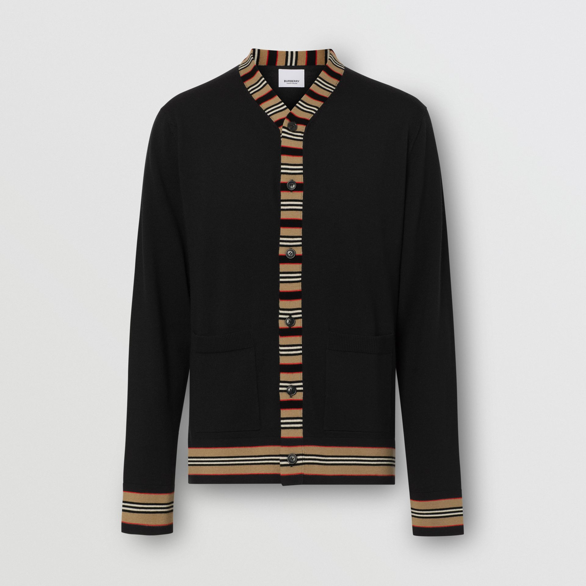 Icon Stripe Detail Merino Wool Cardigan in Black - Men | Burberry United Kingdom - gallery image 3