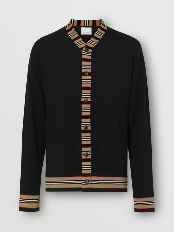 Icon Stripe Detail Merino Wool Cardigan in Black - Men | Burberry Singapore - cell image 3