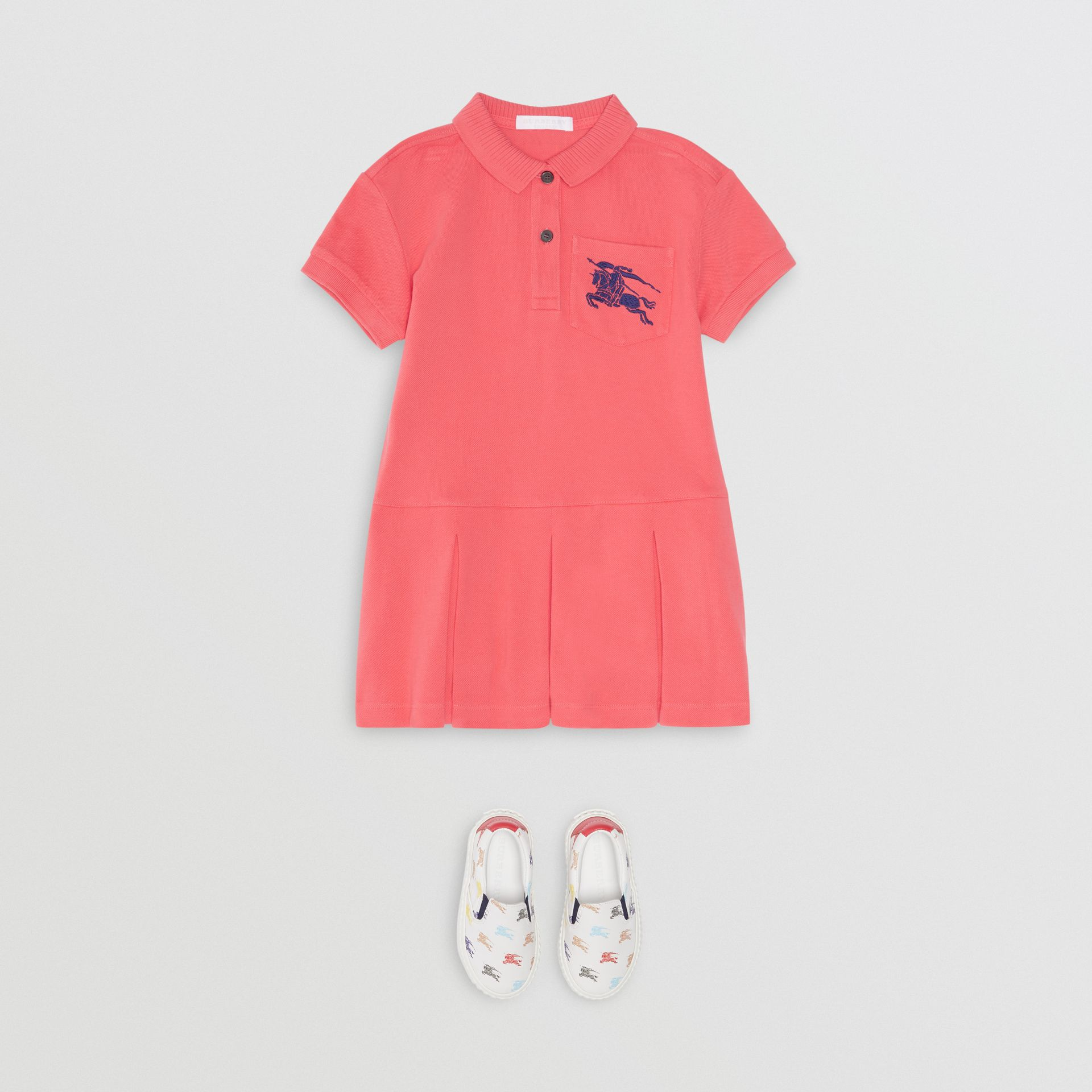 EKD Logo Cotton Polo Dress in Bright Pink | Burberry - gallery image 2
