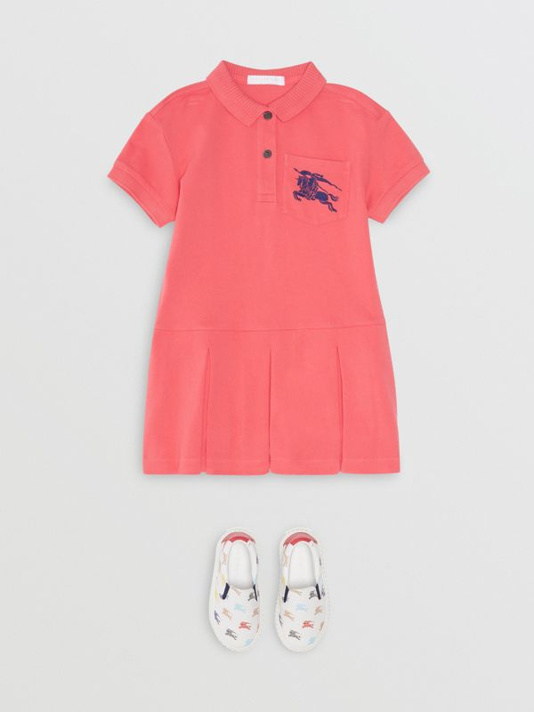 EKD Logo Cotton Polo Dress in Bright Pink | Burberry - cell image 2