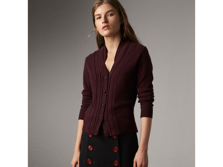 Cable Knit Detail Cashmere Cardigan in Deep Claret - Women | Burberry - cell image 4