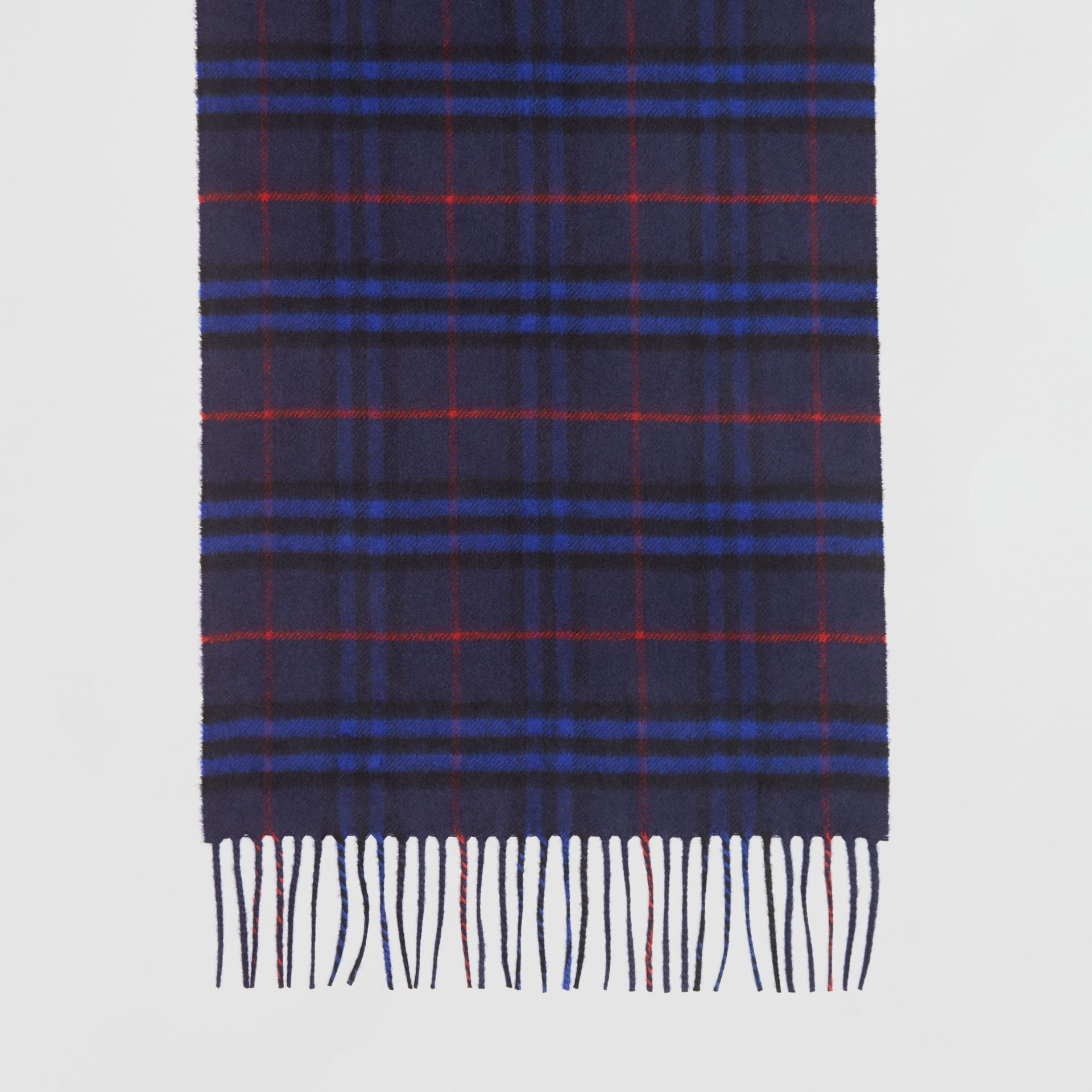 The Classic Vintage Check Cashmere Scarf in Bright Navy | Burberry Canada - gallery image 4