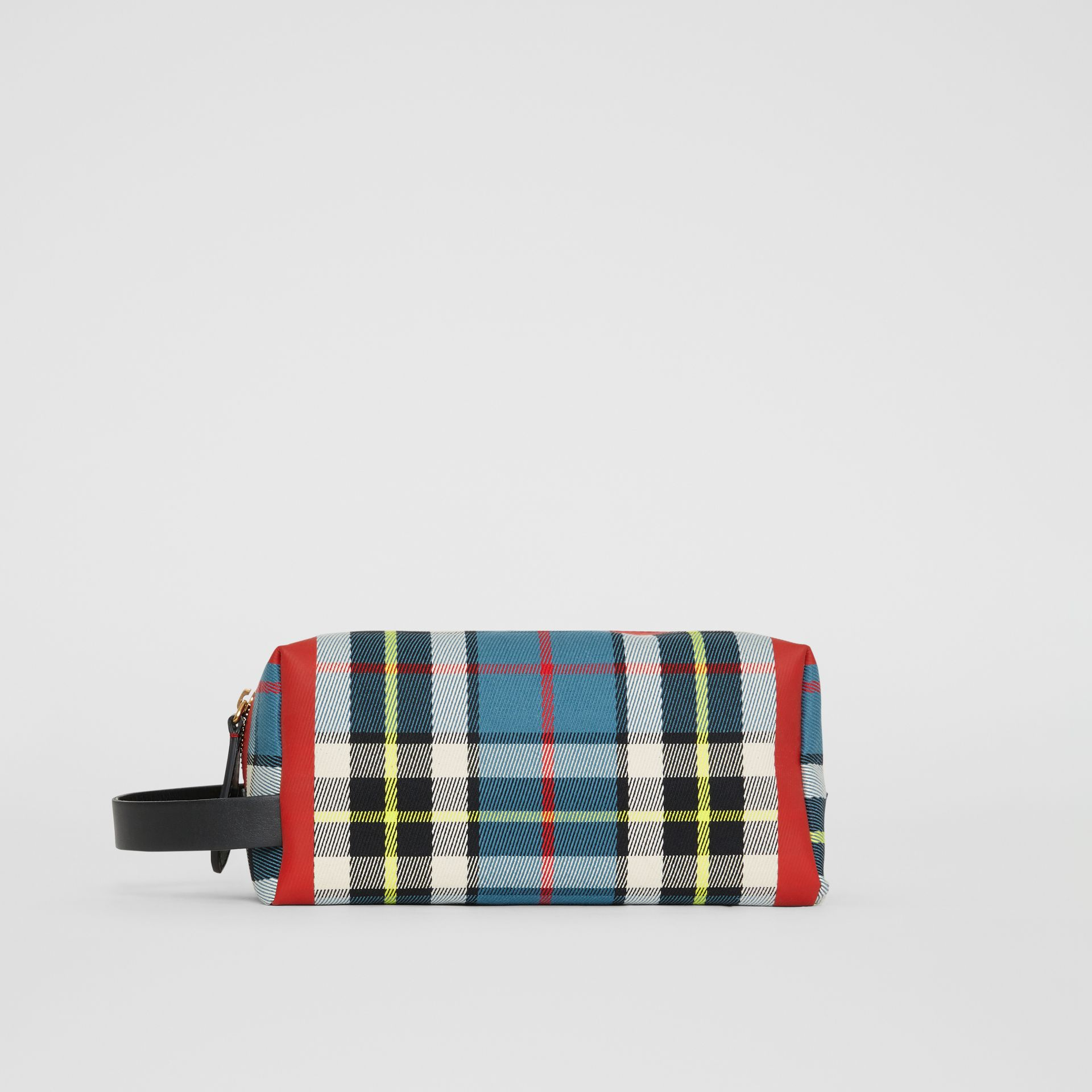 Tartan Cotton Pouch in Blue | Burberry - gallery image 4