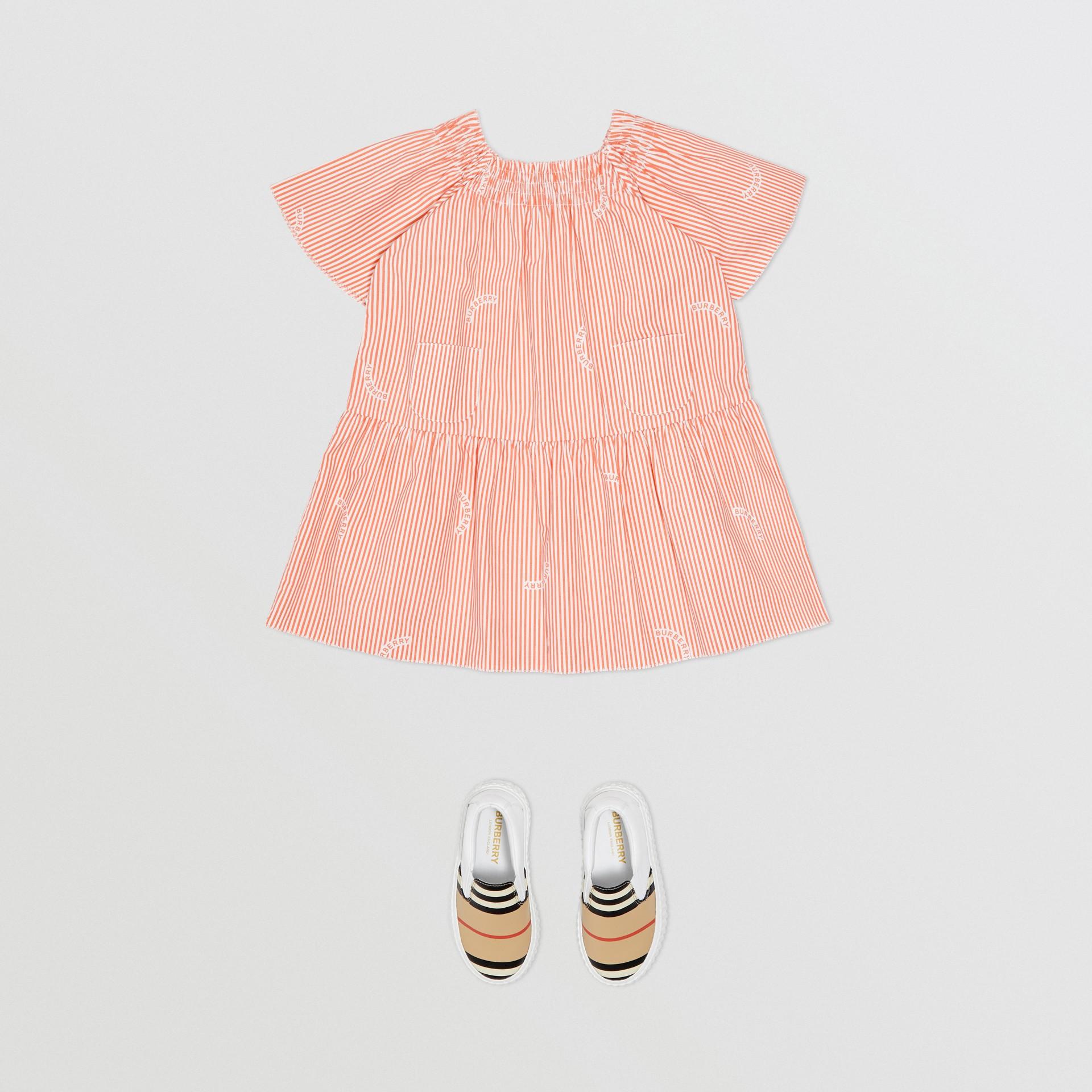 Ruched Neck Stripe Print Cotton Silk Dress in Coral Orange - Children | Burberry United Kingdom - gallery image 2