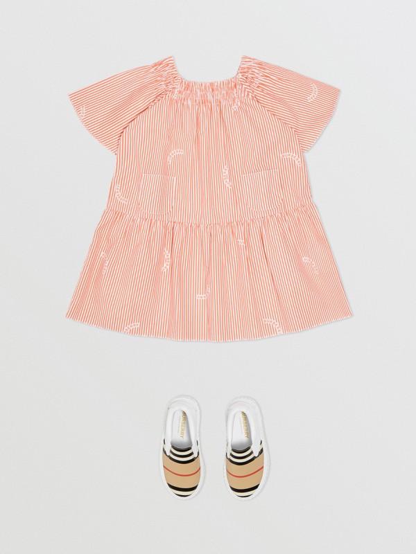 Ruched Neck Stripe Print Cotton Silk Dress in Coral Orange - Children | Burberry United Kingdom - cell image 2
